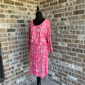 Tommy Bahama Pink/Tan Floral Waisted Dress